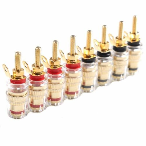 8x Speaker Terminal Binding Post Amplifier Connector 4mm Banana Plug Gold Plated