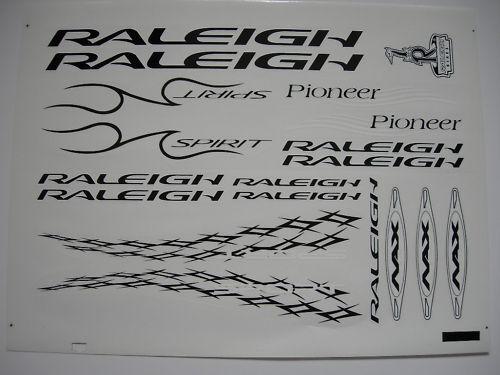 RALEIGH PIONEER SPIRIT DECAL STICKER LABEL TRANSFER - BLACK