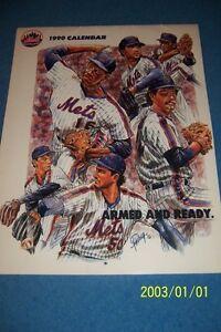 1990 NEW YORK METS Calendar/Schedule DARRYL STRAWBERRY Doc GOODEN Howard JOHNSON