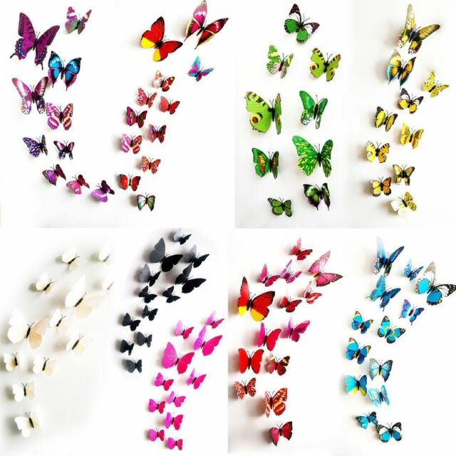 12 Set 3D Schmetterlinge Wandtattoo Wanddeko Wandtatoo Wandaufkleber -NEW DE