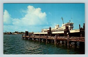Chrome-View-of-Ocracoke-Harbor-Pamlico-Ferry-Outer-Banks-NC-Postcard-X26