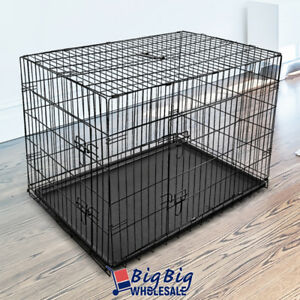 36-034-Intermediate-Portable-Folding-Dog-Crate-Pet-Cage-Pen-Kennel-2-Doors-w-Tray