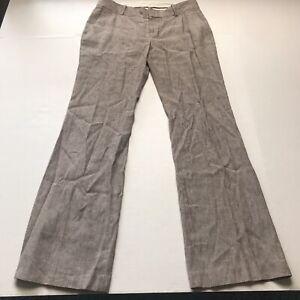 Banana-Republic-Brown-Stripe-Linen-Blend-Martin-Fit-Dress-Pants-Size-8-A807