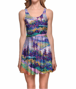Monet-Vintage-Floral-Flower-Print-Mod-Colorful-Purple-Abstract-Art-Skater-Dress