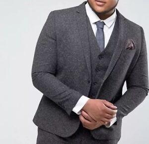 Herrenmode Harry Brown Plus Skinny Grey Nep Suit Jacket Anzüge Size 46r Rrp £189 Box34 Fein Verarbeitet
