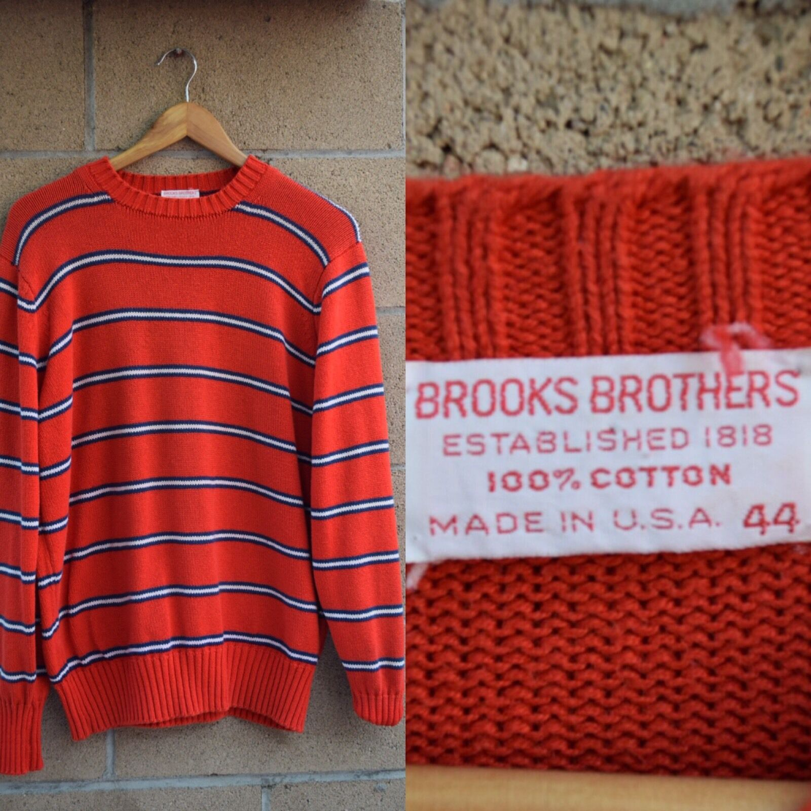 Vtg Brooks Brothers ROT Striped Knit Sweater Größe 44/Large