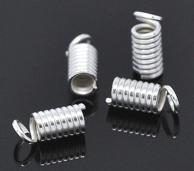 200 Silver Plated Coil End Crimp Fasteners 9x4mm