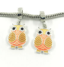 DIY 2pcs Owl Silver European Charm Crystal Spacer Bead Fit Necklace Bracelet HOT