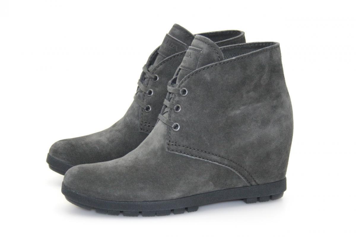 Grandes zapatos con descuento LUXUS PRADA WEDGE STIEFELETTE HALBSTIEFEL 3TZ037 EMATITE GRAU NEU 38,5 39