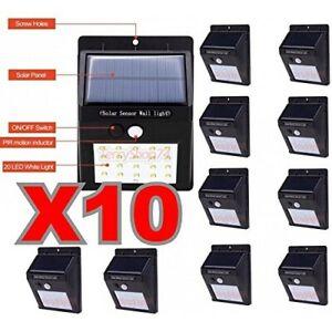 10-X-Faro-Da-20-Led-Con-Pannello-Solare-E-Sensore-Di-Movimento-Faretto-Crepuscol