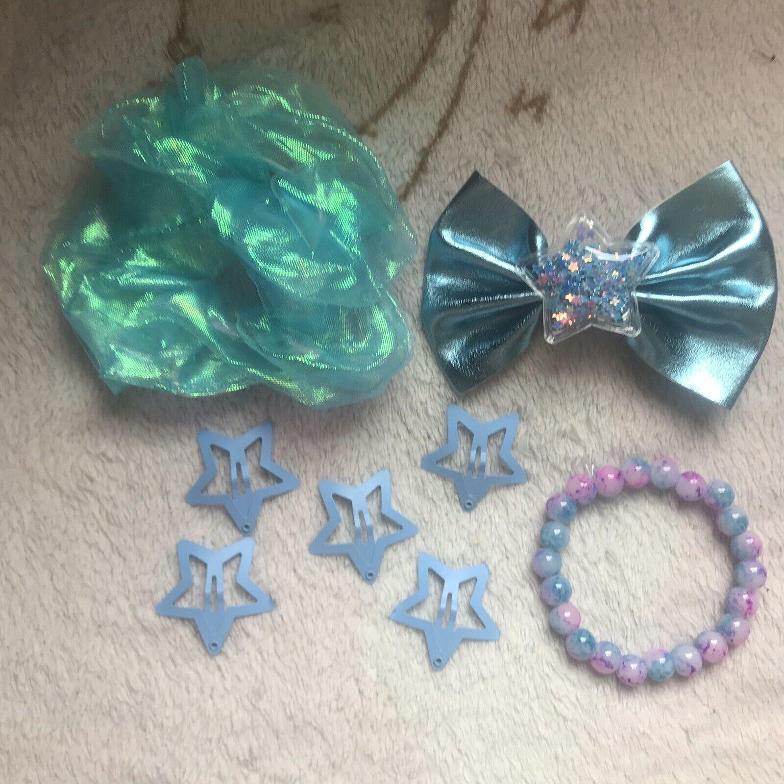 Blue Accessory Bundle Fairy Kei Kawaii Hair Bow Star Clips Scrunchie