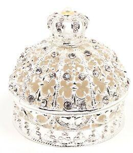 Silver Rhinestone Pearl Crystal Crown Jewelry Box, Trinket Box, Vintage Style