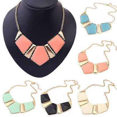 Hot Women's Crystal Chain Pendant Charm Statement Bib Chunky Necklace Jewelry