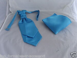 BOYS-Turquoise-BLUE-Ruche-Tie-Cravat-Hankie-Set-The-More-U-Buy-The-More-U-Save
