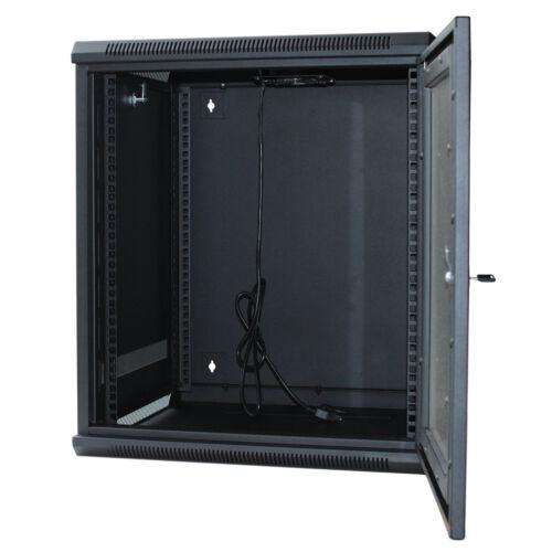 """9U Wall Mount IT Server Network Cabinet Rack Enclosure Glass Door Lock 24/"""" Deep"""