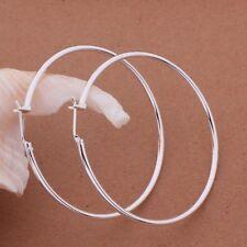 Earrings Hoop Retro Sleeper Ladies 925 Sterling Silver Plated Large 50 mm Gift