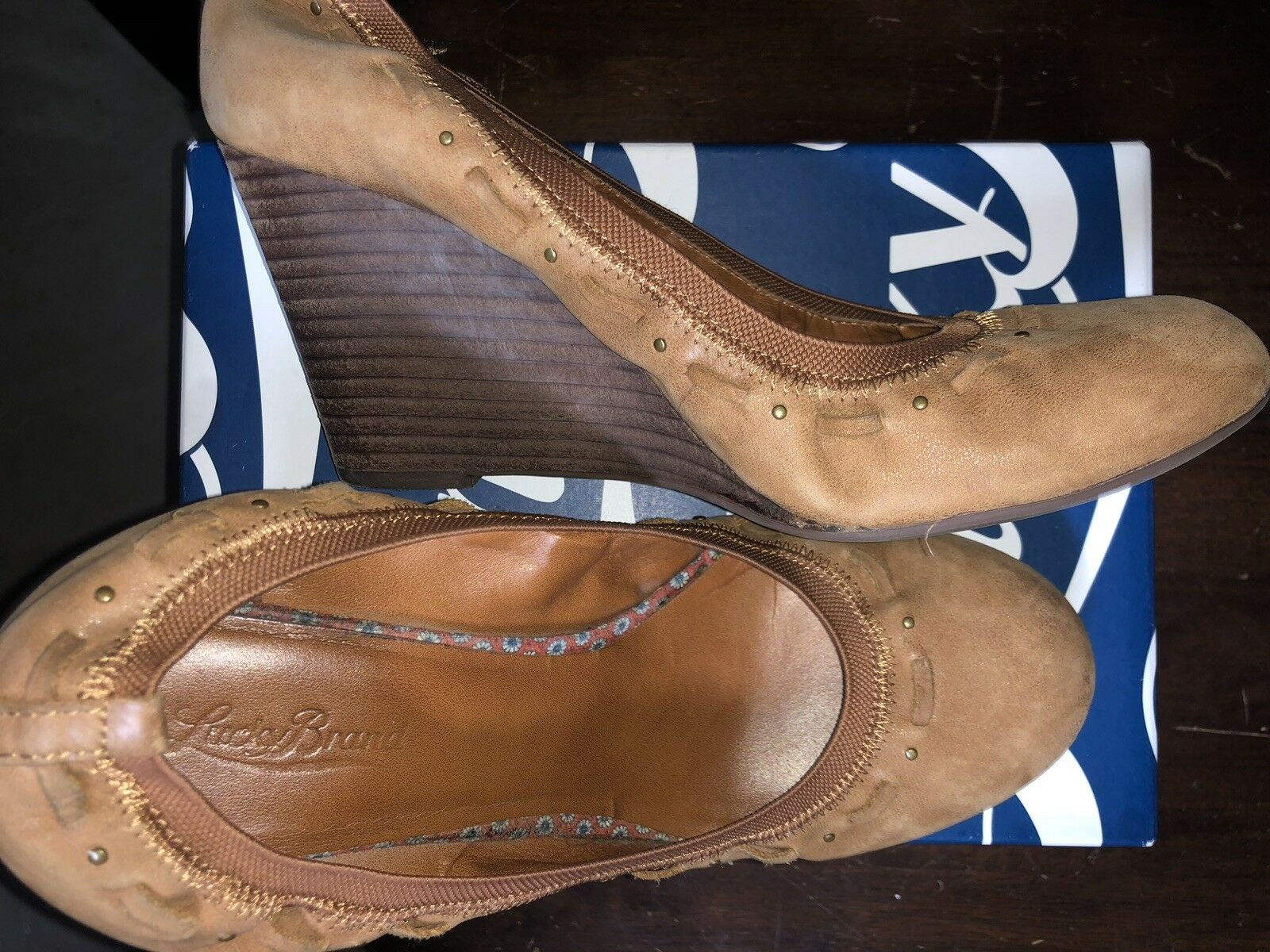 Lucky Brand Medium braun Round Toe Leather Leather Leather Ballet Wedges damen's 9 56295d