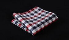 HC3014R Red Blue Check Men 100% Silk Satin Handkerchief Pocket Square Hanky