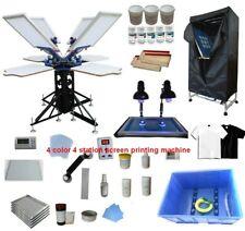 4 Color 4 Station Screen Printing Kit Silk Screen Press Exposure Unit Shirt Diy