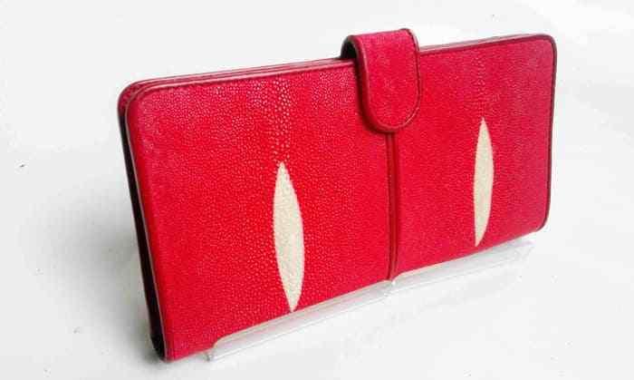 Woman Wallet Stingray Skin RED Long Leather Genuine Bifold Genuine Premium