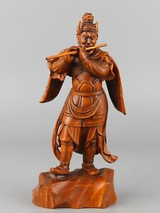 Chinese-Exquisite-Hand-carved-mythology-figure-Carving-Boxwood-statue