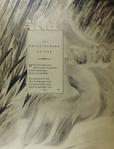 Details About 1922 Full Size William Blake Large Print Thomas Grays Poem Fatal Sisters An Ode