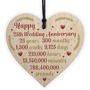 Image Is Loading Hy 25th Wedding Anniversary Card Gift Heart Twenty