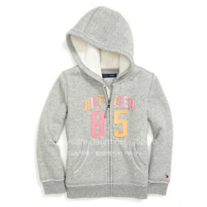 NWT-Tommy-Hilfiger-Fur-Lined-Full-Zip-Hoodie-For-Girl-Gray-4T