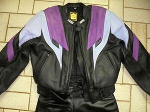 IXS Lederkombi Zweiteiler 90s Motorradkombi bikerkombi lila Motorradanzug 46/L