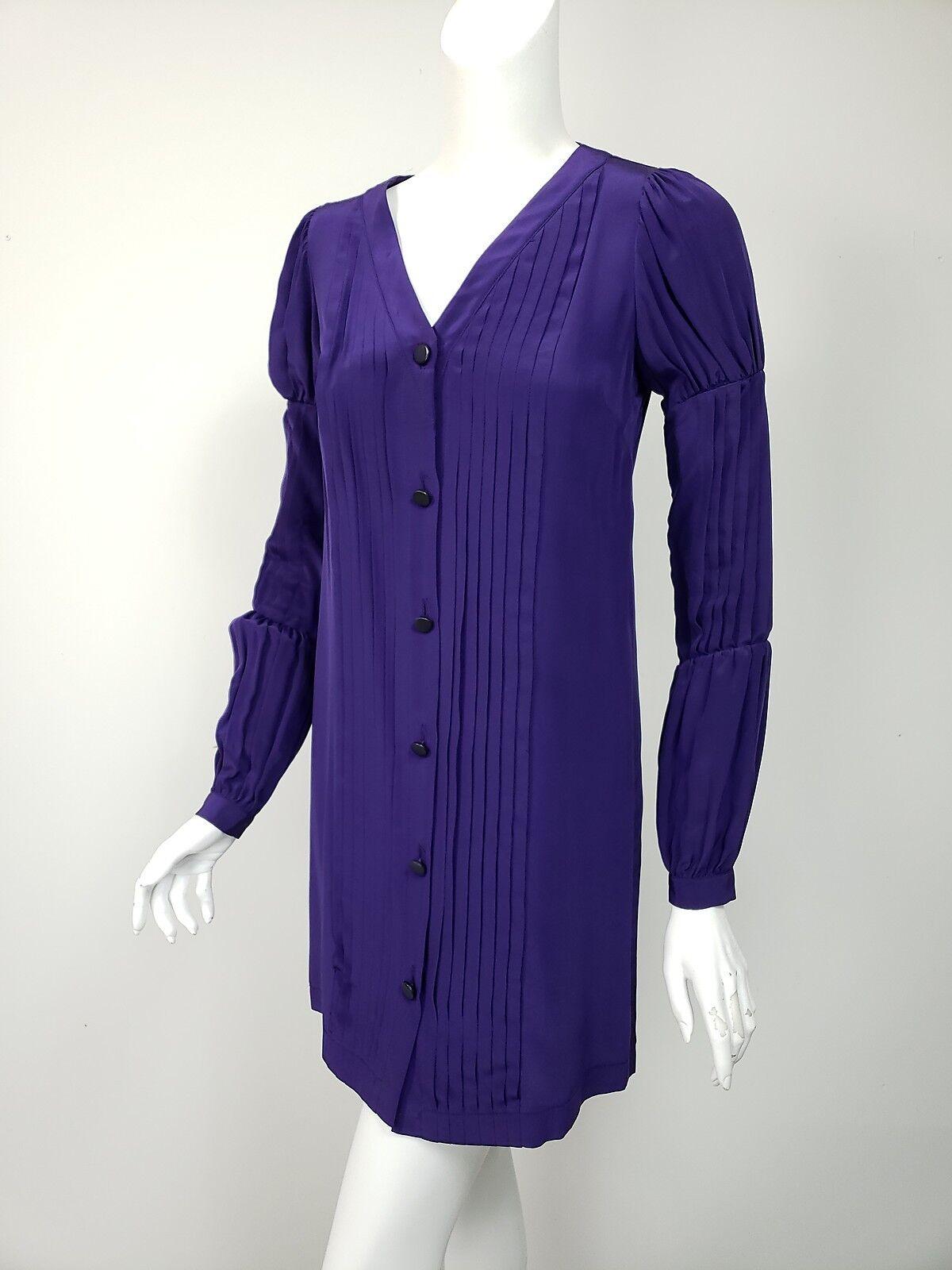 SEA NEW YORK Dark Purple Pleated Front Buttoned Mini Shirt Dress sz 0