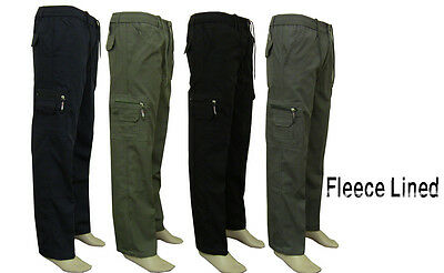Mens Casual Smart Elasticated Fleece Lined Trousers Cargo Combat Winter Pants
