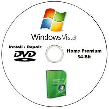 Windows Vista Home Premium 64-Bit SP2 Installation / Repair DVD Disc HQ CD
