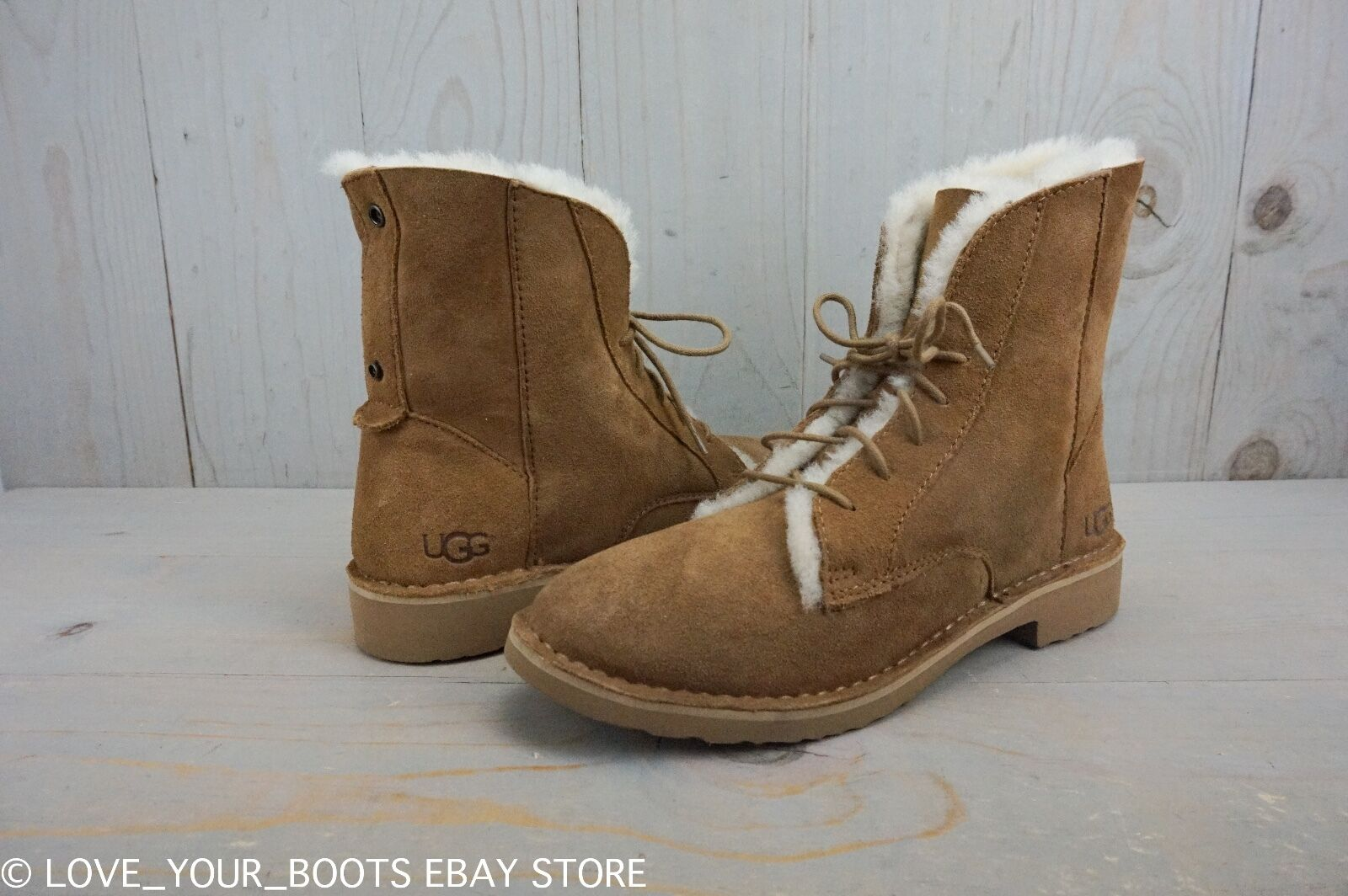 UGG QUINCY CHESTNUT SUEDE LACE UP FOLDABLE CUFF COMBAT BOOTS KVINNOR US 8.5 NEW
