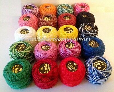 Variegated /& Solid Anchor pearl cotton embroidery thread 85 mtr size 8 mix color