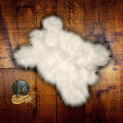 Small White Bear Cub Faux Fur Pelt Hide Throw Rug Shag Sheepskin Mini Carpet