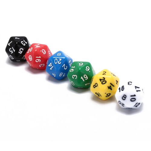 6pcs//set games multi sides dice d20 gaming dices game playing mixed color LE
