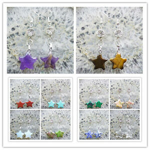 Mezcla-de-piedras-preciosas-y-Estrella-Plata-Tibet-Flor-Pendiente-enviados-al-azar-hx112