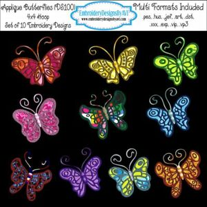 8 sizes Butterfly Applique Machine Embroidery Design Cute Butterfly Applique Machine Embroidery Design Files