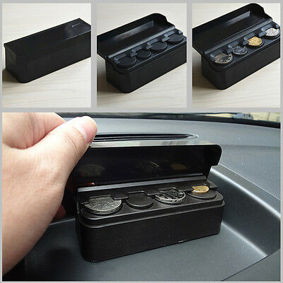 Car Auto Storage Coin Money Holder Change Organizer Box Travel Piggy Bank Black