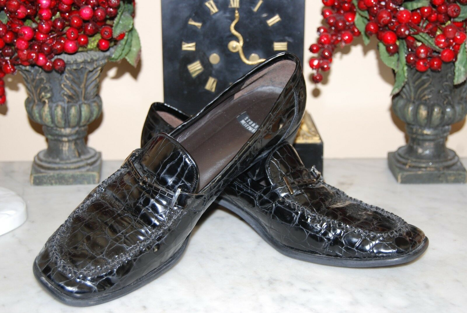 STUART WEITZMAN BLACK FAUX CROC PATENT LEATHER JEWELED WOMEN'S LOAFERS 11.5 AAA
