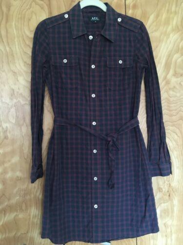 Burgundy and navy plaid A.P.C. cotton shirtdress,