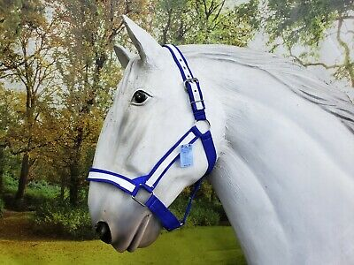 American Made draft horse halter BLACK with WHITE overlay fits FULL size drafts