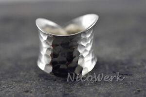 Silberring-Vintage-Breit-Gehaemmert-Ring-Silber-925-Verstellbar-Offen-Damenringe