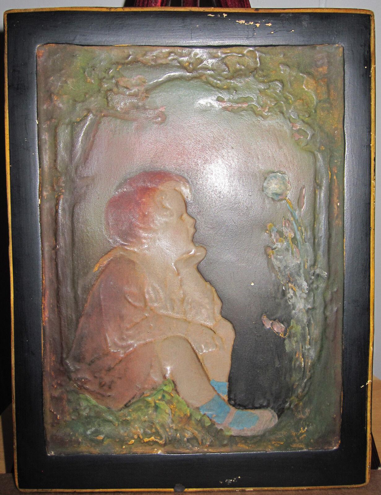 Antico Ceramica Decorativo Art Attaccatura a Parete Arti e Mestieri Stile