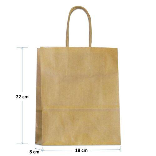 Papiertragetaschen ab 50 Stk gerippt Kordel braun 18+8x22 cm Papiertüten Taschen