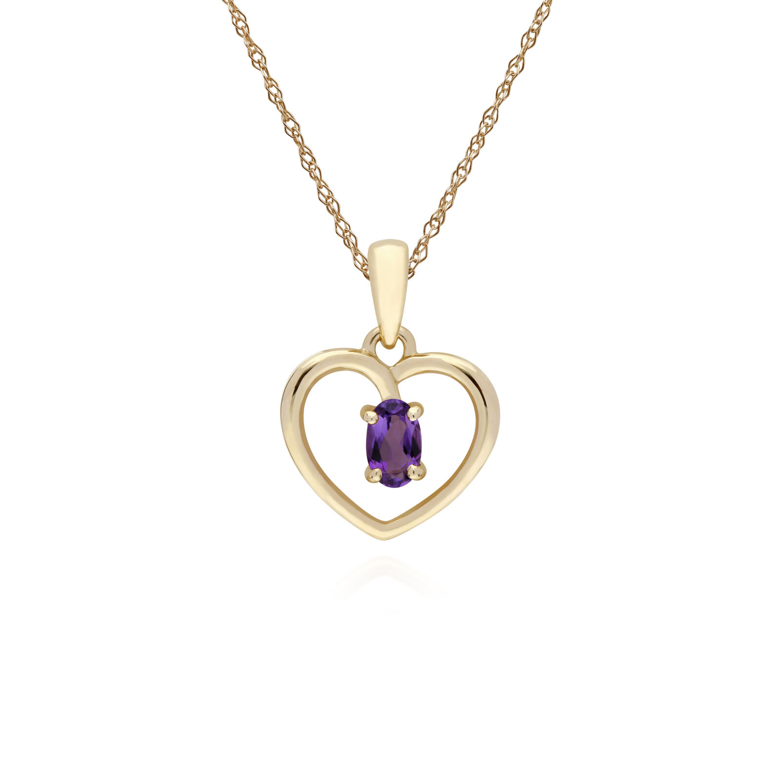 Gemondo 9ct Yellow gold Amethyst Oval Single Stone Heart Pendant on 45cm Chain