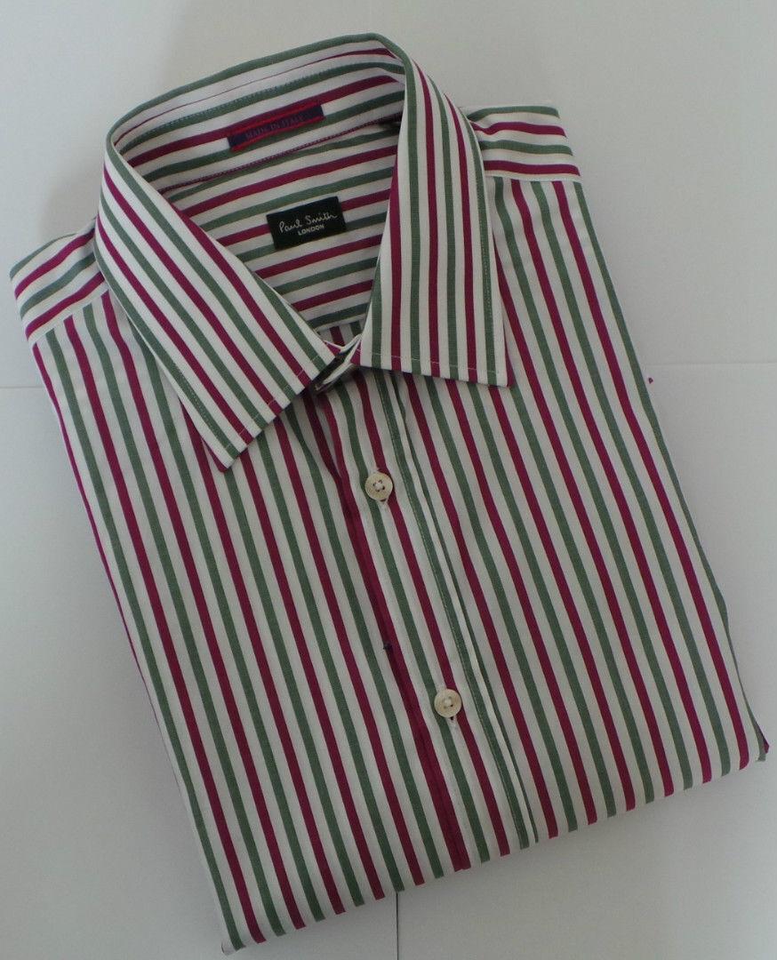 Paul Smith Camicia Taglia 15 Media Rosso A Strisce Verdi