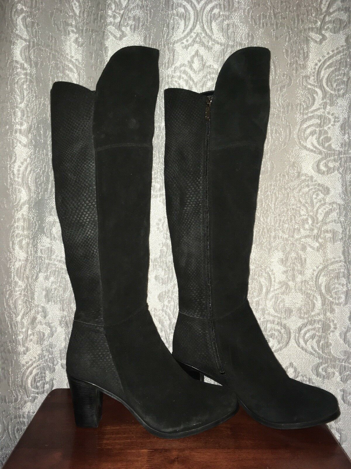 DUO BLACK LEATHER & SUEDE MIX ZIP UP BOOTS UK 9 EU 43