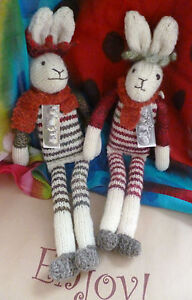 Flock-of-Ages-Hand-Knitted-White-Festive-Hare-Shropshire-Wool-Natural-Gift-Decor