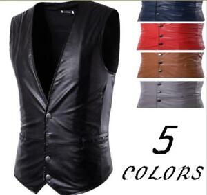 Men/'s Zip Up Sleeveless Chic Tops Vest Stand Collar Casual Waistcoat Size Zsell